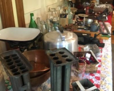 tag sale with antiques, primitives, tools, pottery