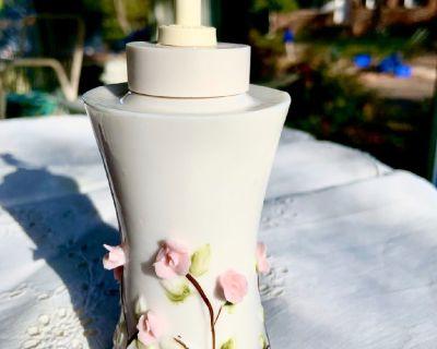 Ceramic Pink Rose Relief Lotion Soap Dispenser