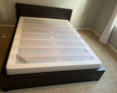 Queen bed frame , IKEA brown, + box spring