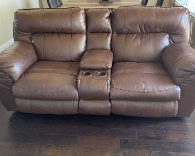 Nolan Extra Wide Leather Reclining Console Loveseat w/ Storage & Cupholder