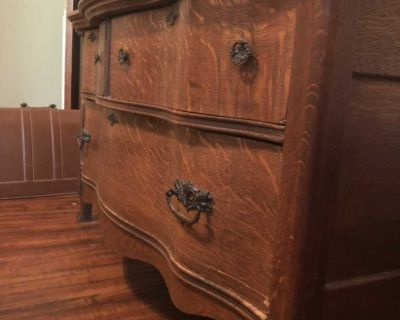 Rare Antique Vintage Unique Serpentine dresser chest of drawers