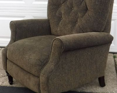 Arm Chair Recliner - Olive Green print Upholstery