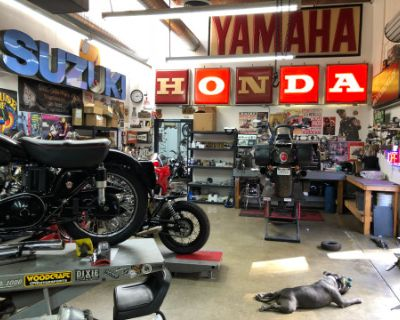 Working Motorcycle shop with tons of antiques and memorabilia and a speakeasy!, Signal Hill, CA