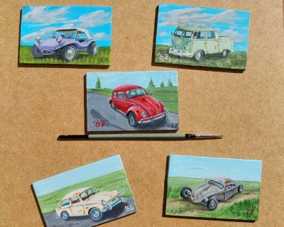 5 Classic Volkswagens Custom Oil Painted. 5 pack Collectible