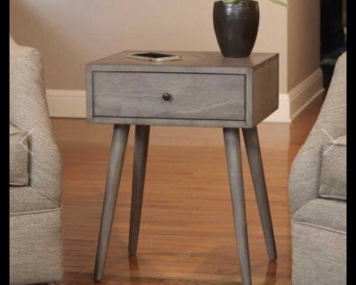 Mid Century Modern One Drawer Wood Side Table End Table Gray Color