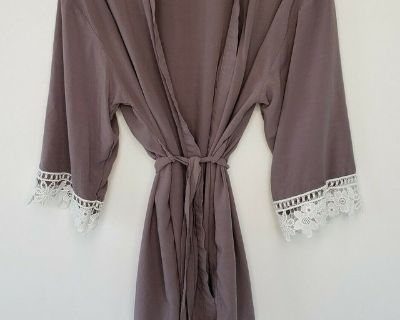 GRAY BELTED ROBE SIZE S * WORN 1 TIME