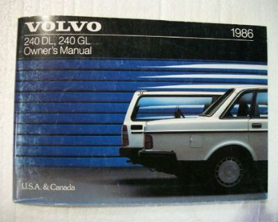 1986 Volvo 240 Gl Dl Owner's Manual. Good Cond. Clear No Owner Info.