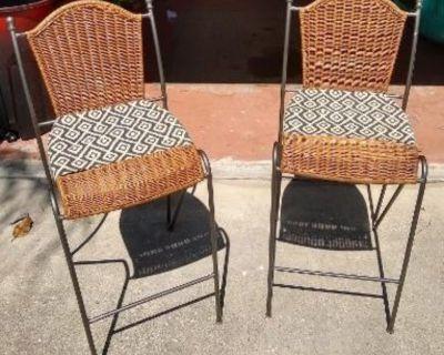 2 Rattan / Iron Bar Stools With Some Pizzazz!