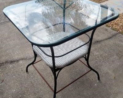 Nice Square High Top Metal/Glass Outdoor Table!