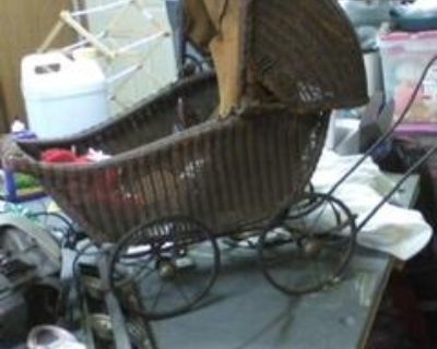ANTIQUE WICKER DOLL BUGGY $200 & CHILDS WICKER ROCKING CHAIR $50