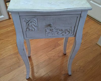 Antique White Real Wood side table/night stand