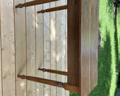 Beautiful wood antique table 33 inches long x 29 inches height x 16 inches wide, with a side dwarer $50