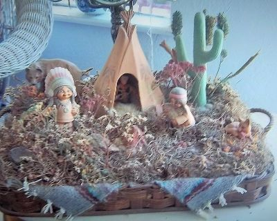 Southwest scene in basket- not a picture-Figurines