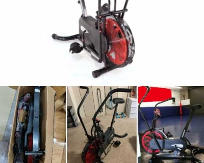 New Fan Exercise Bike Upright Stationary Resistance System Color Black For Indoor Fitness Cardio