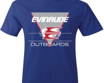 "Evinrude Outboards Vintage ""e"" Short Sleeve Blue T-shirt"