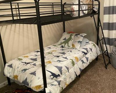 Brand new metal bunk bed twin over twin includes 2 mattresses and 1 box spring