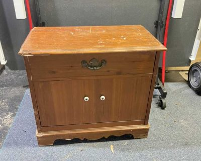 Side table pull down drawer
