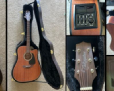 Acoustic/Electric Guitar with built-in tuner and hard-shell case