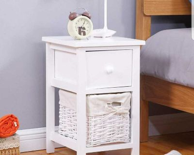 ISO White Side Table with Basket