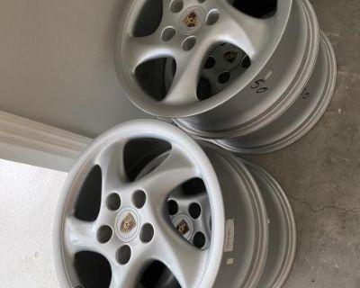 "Factory Porsche 18"" Turbo Twist alloy wheels"
