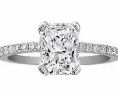 1.66 ctw. Radiant Cut Diamond Pave Engagement Ring in 14K White Gold