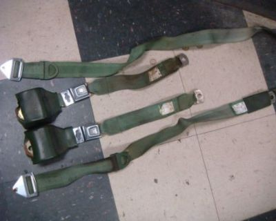 Original Set 70 Shelby Ford Mustang Seat Belts Retractable Seatbelts Ivy Green