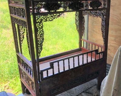ANTIQUE ROSEWOOD BABY CRIB - INTRICATE DETAILS - ORIENTAL / CHINESE - CANOPY