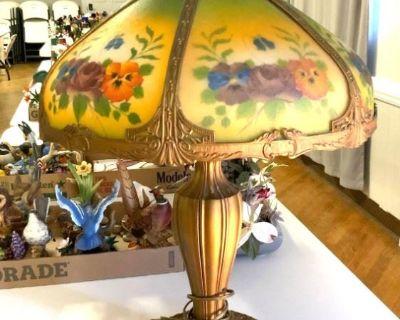 Nutcrackers, Cherry Furniture, Slag Glass Lamp, Framed Art & More