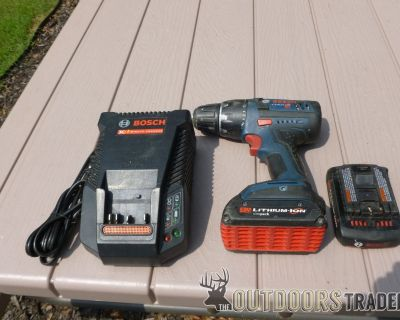 FS Bosch Lithium Ion 18 volt- 2 speed drill with Charger and 2 Batteries.