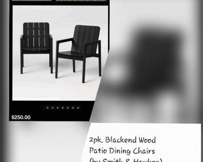 2pk Blackened Wood Patio Dining Chairs