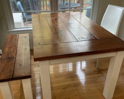 Kitchen table and a bench