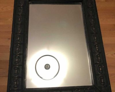 Mirror with brown trim