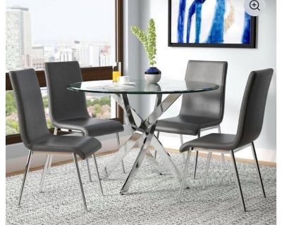 Modern 5 Piece Dining Set - Round Glass Table & Chairs