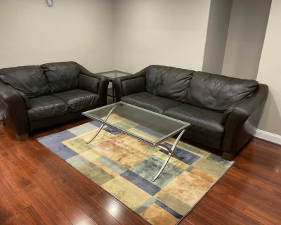 *Delivery Available* Elegant Dark Brown Leather Sofa and Loveseat