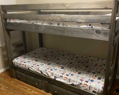 Pine Wood Twin Bunk Beds w/ Drawers