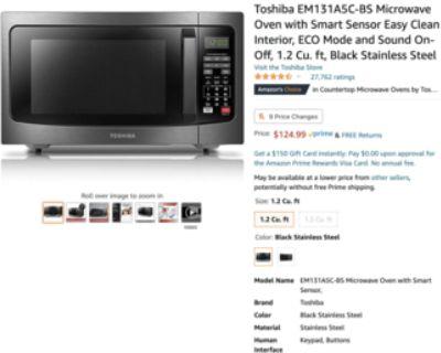 Brandnew Toshiba 1.2 Cu. ft Microwave Oven with Smart Sensor