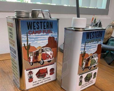 Coleman lantern Westfalia retro fuel can label