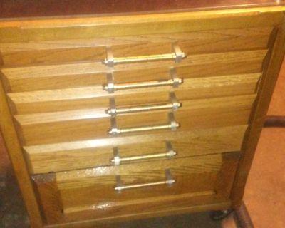 Custom made machinist oak roller tool box