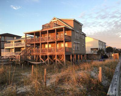 Beach House @Tiki OceanFront 3B 2ba Cottage - All one Level - Wraparound Porches - Wilmington Beach