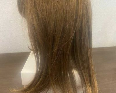 Light Brown 12 Human Hair Woman s Wig Tereza w/ Stand & Products