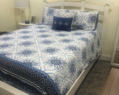 Queen bed frame, mattress, & box springs - cross posted!