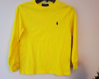 SMALL, POLO RALPH LAUREN, YELLOW LONG SLEEVE SHIRT, EXCELLENT CONDITION, SMOKE FREE HOUSE