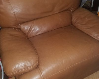 Real Leather Oversized Chair