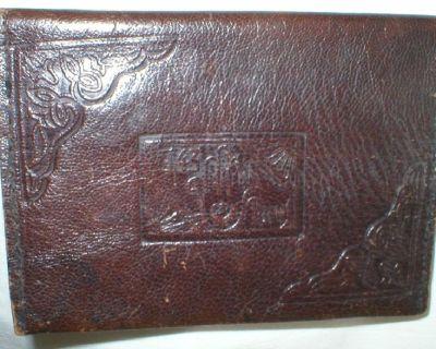 Antique Vintage Embossed 1943 Tunis All Leather Bi-Fold Wallet