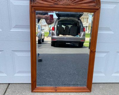 """Antique Vintage Carved Wood Mirror, In Excellent Condition 1/2"""" w x 46 1/4"""" h"""