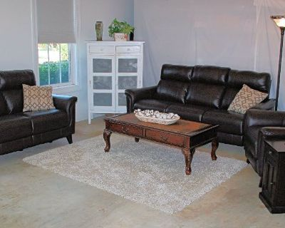 3 Piece Reclining Leather Sofa, Loveseat & Recliner