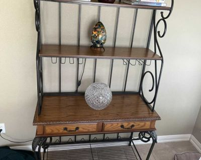 Bakers Rack With 3 Drawers, Wine Rack And Wine Glass Rack