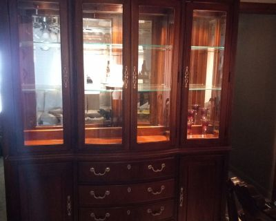 Beautiful Sturdy Hard Wood china cabinet and matching dining set with chairs!!!
