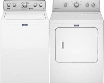 BRAND NEW MAYTAG TOP LOAD WASHER DRYER SET. 01 YEAR WARRANTY