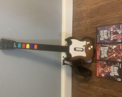 Old School PS2 Guitar Hero Guitar and 3 Games